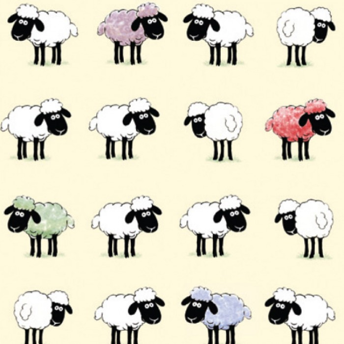 Sheepish Tea Towel (with border)