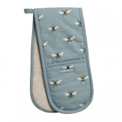 Bees Teal Double Oven Glove