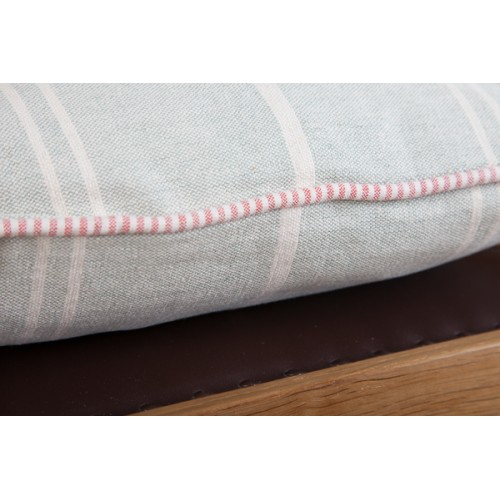 Susie Watson Vintage Duck Egg Blue And Ivory Striped Seat Pad