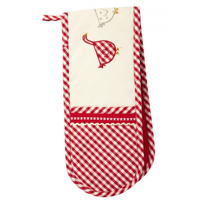 Gingham Goose Oven Gloves