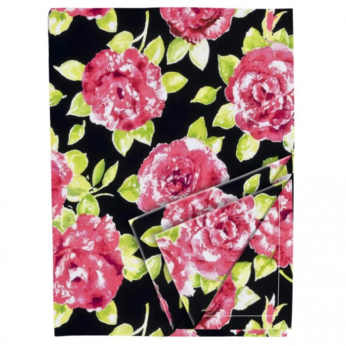 Red and Black Bold Floral Cotton Tablecloth (140cm x 230cm)