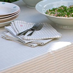 Duck Egg Blue Stripe Susie Watson Tablecloth (160cm x 160cm)