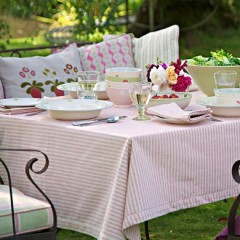 Rose Ivory Stripe Susie Watson Tablecloth (160cm x 160cm)