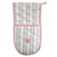 Susie Watson Duck Egg Stripe/Heart Double Oven Glove