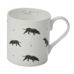 """Sit!"" Black Labrador China Mug"
