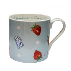 Strawberries & Cream Blue China Mug