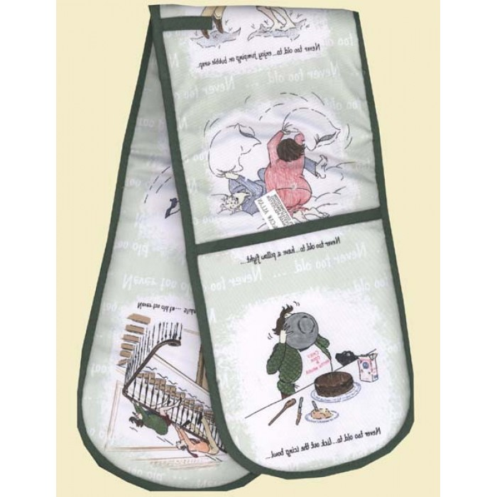 'Never Too Old'  Double Oven Gloves