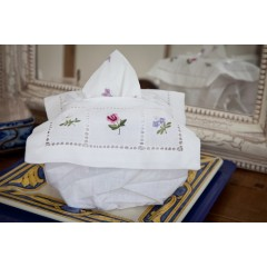 Cotton Embroidered Square Tissue Box Cover