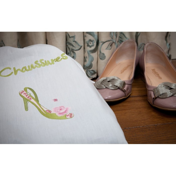 Embroidered Cotton Shoe Bag