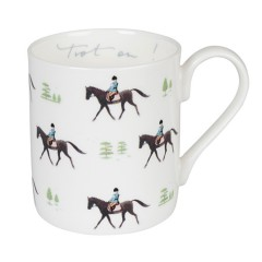 Horses 'Trot On' White China Mug