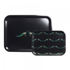 Peacocks Small Printed Wooden Tray