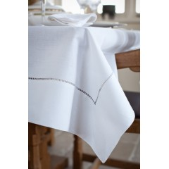 Mayfair Embroidered White Tablecloth (183cm x 274 cm)